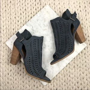 Report Charcoal Grey Perforated Suede Booties